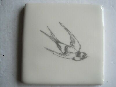 VINTAGE WINCHESTER 105 mm COPPER ENGRAVINGS BIRDS TILE - SWALLOW