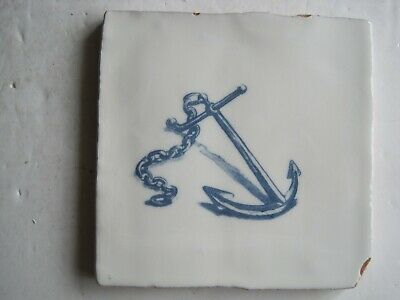 VINTAGE WINCHESTER 130 mm BLUE ON WHITE NAUTICAL TILE - ANCHOR