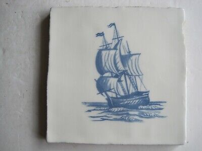 VINTAGE WINCHESTER 130 mm BLUE ON WHITE NAUTICAL TILE - SAILING SHIP