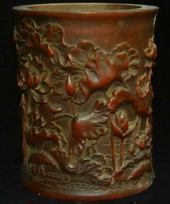 "6"" Chinese Huang Huali Wood Old Lotus Flower Pen Container Brush Pot Pencil Vase"