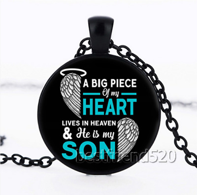 A Big Piece of My Heart Lives In Heaven My Son Cabochon Glass Necklace Pendant