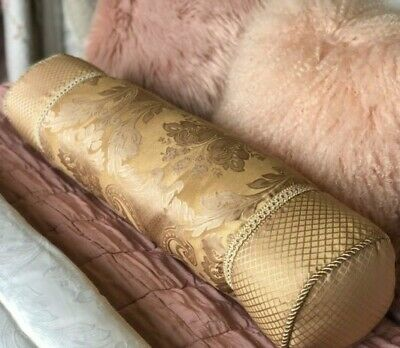 Luxury French Floral X Large Bolster Cushion Filled Antique Gold Two Sizes