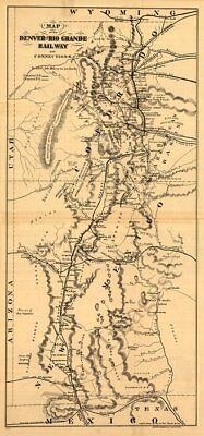 Denver and Rio Grande Railway map Colorado c1873 12x24