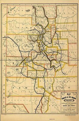 Denver & Rio Grande Railway map Colorado c1881 24x36
