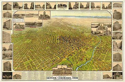 Denver Colorado panorama c1908 map 36x24