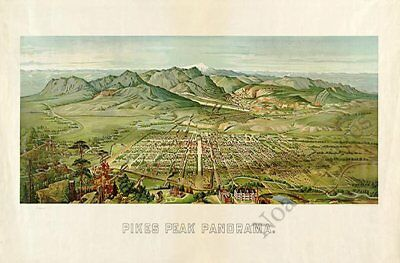 Pikes Peak Colorado panorama c1890 map 30x20
