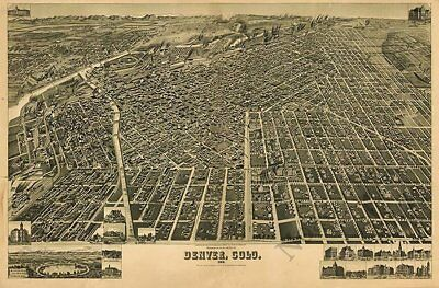 Denver Colorado panorama c1889 map 36x24