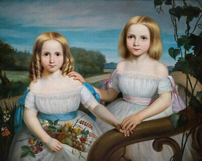 LMOP1100 two little girls with fruit handmade painted oil painting art on canvas