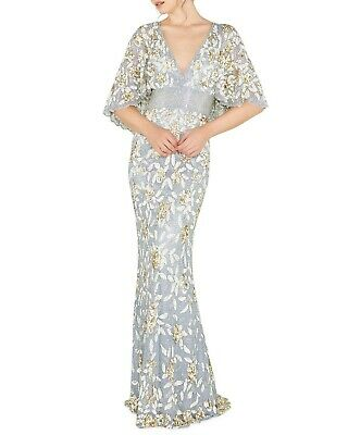 Mac Duggal shimmery gown with floral sequins and scalloped-edge cape  us 16