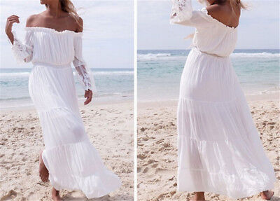 Womens White Strapless Long Sleeve Loose Sexy Off Shoulders Lace Boho Maxi DrRDR
