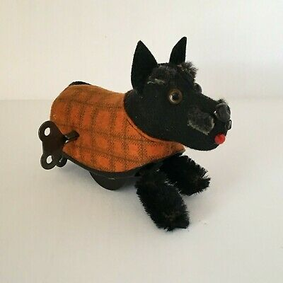 Vintage Schuco Wind Up Scottie Dog and Key PERFECT US Zone Germany 1945
