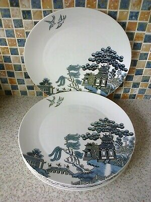 Johnson Brothers Willow Blue Design 5 X Dinner Plates 11.25 Inch