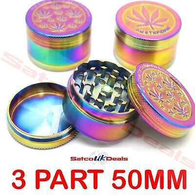 3 Part 50Mm Rainbow Magnetic Shark Teeth Smoking Grinder Herb Tobacco Spice Gift