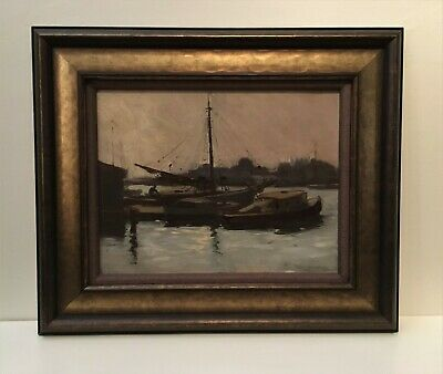 Early 20th century oil painting by Manley Kercheval Nash, American, harbor scene