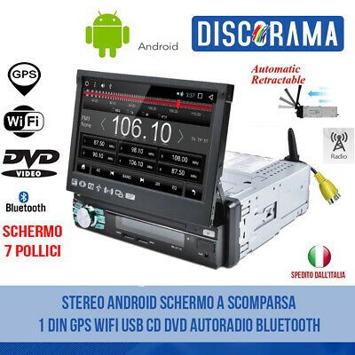Stereo Android Schermo A Scomparsa 1 Din Gps Wifi Usb Cd Dvd Autoradio Bluetooth