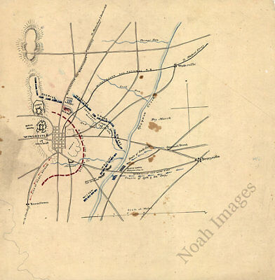 Sketch of the Battle of Winchester Virginia c1864 map 12x12