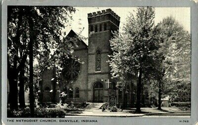 1930'S. METHODIST CHURCH. DANVILLE, IND POSTCARD t3
