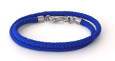 Wrap Around Rope  Bracelet  Blue Heavy Duty Stainless Snap Hook Hand Made USA