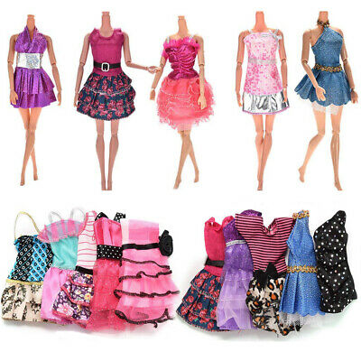 10Pcs Different Style Dresses Clothes Set for Barbie Doll Casual Party Decor