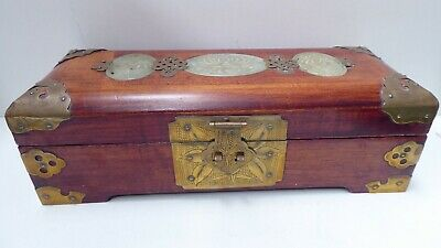 Chinese Timber Jewellery Box Engraved Brass Bound Inlaid Carved Jade Silk Lined