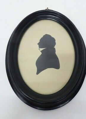 Antique Oval Wooden Glass Picture Frame Silhouette Portrait