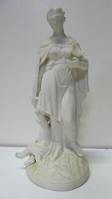 Antique Parian Statue Blindfolded Lady Of Justice With Sword Scales Figurine