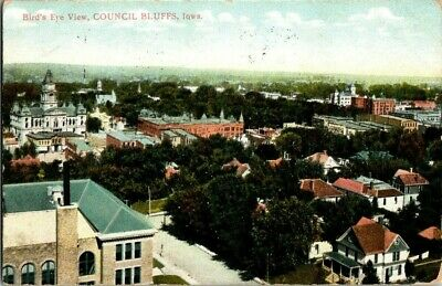 1909. BIRDS EYE VIEW OF COUNCIL BLUFFS, IOWA. POSTCARD t13
