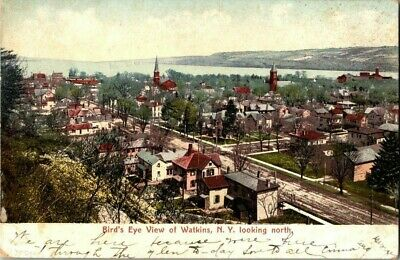 1907. BIRDS EYE VIEW OF WATKINS, NY LOOKING NORTH. POSTCARD t14