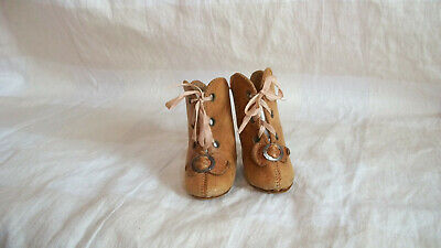 Tan  Leather Antique Boots For Your French Or German Doll Markings C.m.