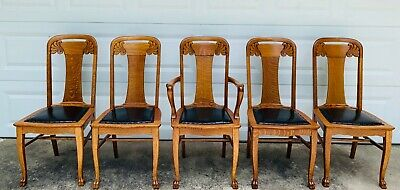 Antique Oak Dining Chairs w/ORIGINAL Leather Padded Seats