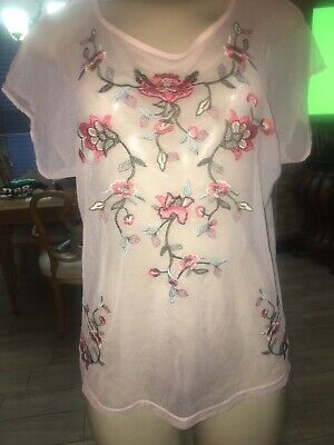 Thalia Sheer Embroidered Blouse Top  SIZE SMALL PEACH  FLORAL pk1