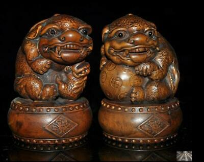 """3""""Old China Boxwood wood master hand carved Foo Dog lion rich animal statue pair"""