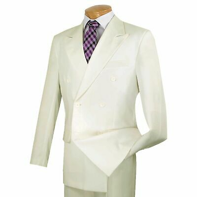 LUCCI Men's Ivory Double Breasted Classic Fit Poplin Polyester Suit NEW
