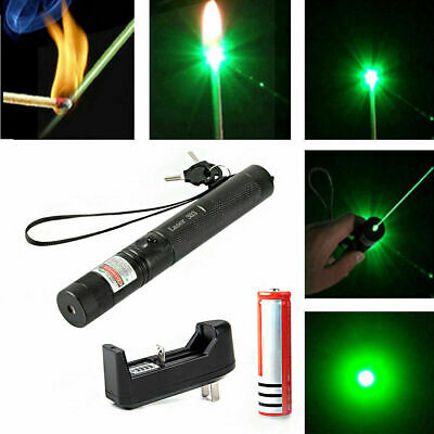 High Power 3.7v Green Light  Laser Pointer Pen With 2x Safety Key & Wrist Strap