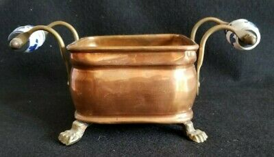 Vintage Delft Handle Copper Square Planter with Brass Lion Claw Feet