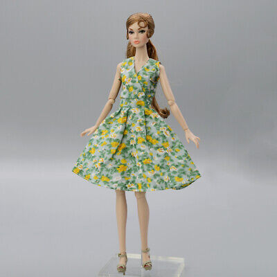 """Yellow Floral Dress For 11.5"""" 1/6 Doll Outfits Fashion Doll Clothes Party Dress"""