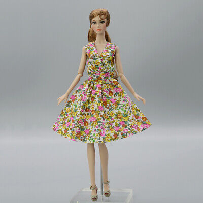 "Summer Flower Floral Dress For 11.5"" 1/6 Doll Outfits Fashion Doll Clothes Gown"