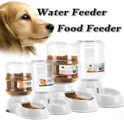 Automatic Pet Feeder Dispenser Waterer Dog Cat Self Feeding Food Water Bowl