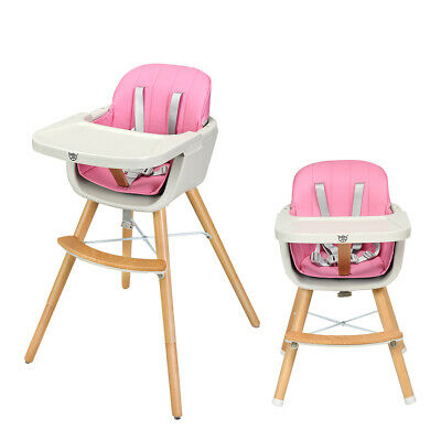 Wooden High Chair Baby Toddler 3 in 1 Convertible Highchair w/ Cushion Pink