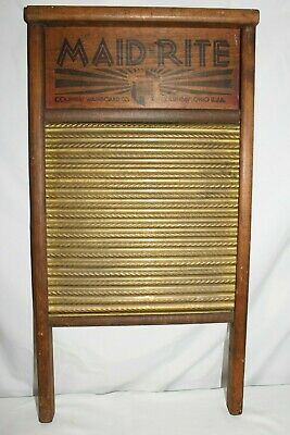 Antique Washboard MAID RITE STANDARD FAMILY SIZE BRASS Laundry Room Scrub Board