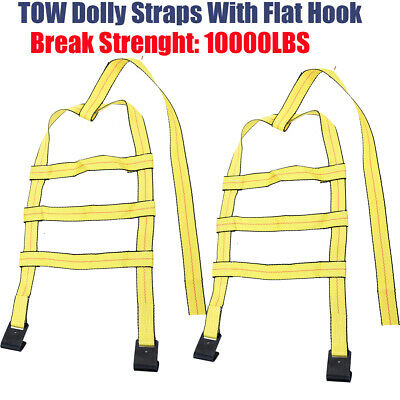 Car Tire Tow Dolly Straps Basket Strap w/Flat Hook Heavy Duty Set of 2 Yellow S6