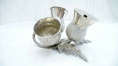Vintage Silver Plate 3 Piece Scottish Thistle Condiment Set on Thistle Stand