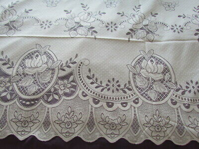 "New Vintage 90x60"" Scranton type lace Victorian Floral tablecloth Roses Ivory"