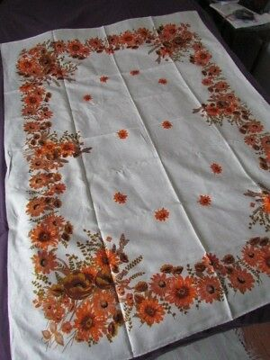 New Linen Kitchen Tablecloth Vintage 50-60 Th Printed Floral Sunflowers Orange
