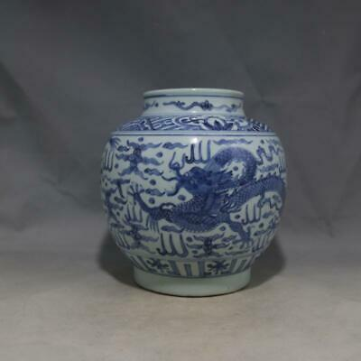 One Nice Chinese Ming Blue White Porcelain Dragon Pot