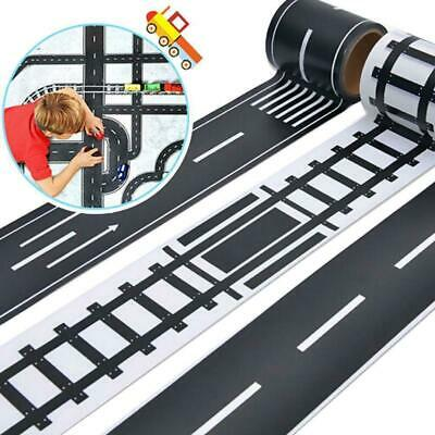 Traffic Black White Wide Railway Road Sticky Paper Tape For Kids Toys Car knis 2