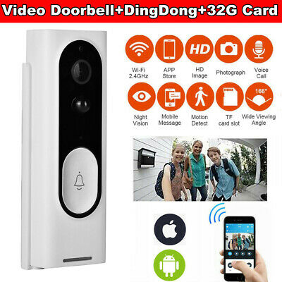 Wireless WiFi Video Doorbell Camera Smart Ring Security Phone Door Bell Intercom