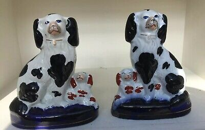 Unusual Pair Of Antique Victorian Staffordshire Flatback Spaniels With Puppies