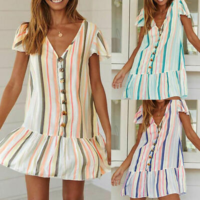 Summer Fashion Women Striped Printed V-Neck Short Sleeve Casual Mini Dress