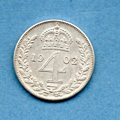 1902 STERLING SILVER MAUNDY FOURPENCE COIN  OF KING EDWARD VII. 4d.